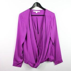 Diane Von Furstenberg Faux Wrap Blouse Size 12
